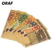 Высокое качество 24 к позолоченные европейские банкноты 7 шт. 5 10 20 50 100 200 500 евро античные Позолоченные поддельные деньги украшение для дома