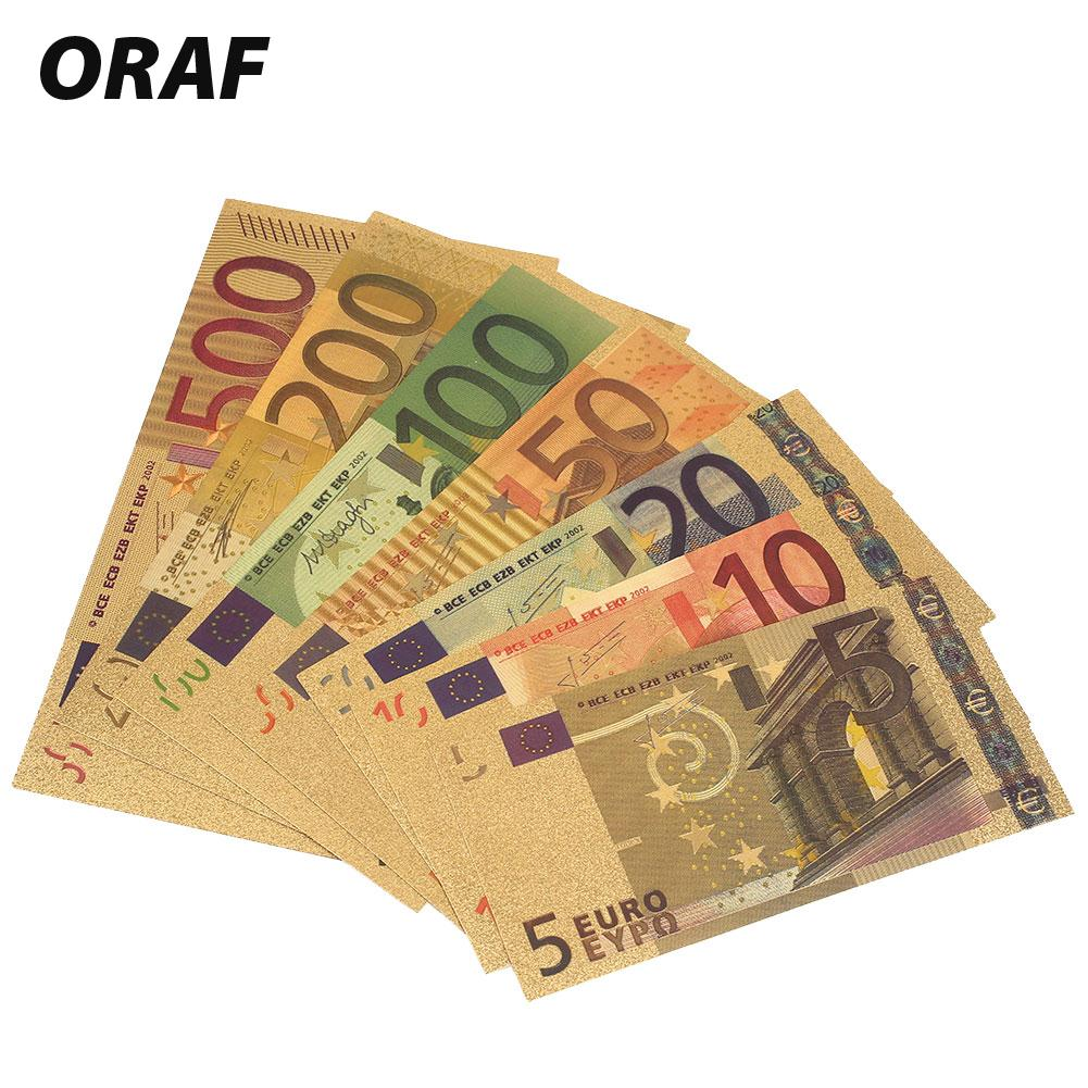 High Quality 24K Gold Plated EUR Banknotes 7PCS 5 10 20 50 100 200 500 EUR Antique Plated Gold Fake Money Home Decoration
