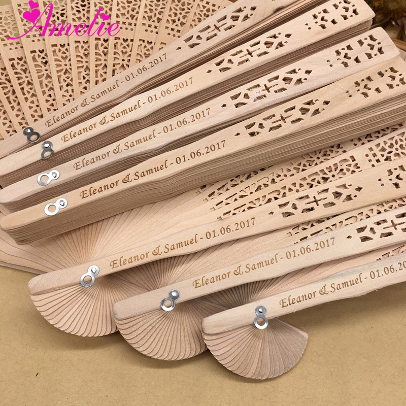 50pcs Lot Baby Shower Party Gifts Hand Fan Wedding Guest Souvenir Wood Fan Organza Bag pack
