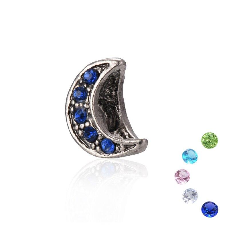 European Rhinestone Crescent Moon Shape Alloy Metal Beads Charms Big Hole Fits for DIY Jewelry Making Pandora Bracelet & Bangles