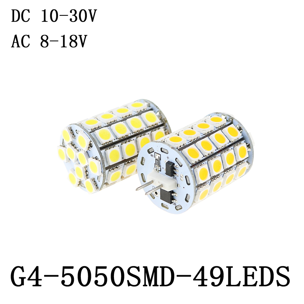 49leds SMD5050 7W 12V led g4 Replace 20W halogen lamp Bulb  DC 10-30V/AC 8-18V warm white/pure white Chandelier Spot Light 10pcs 20 pcs g4 led lamp 3w ac dc 12v 3014 5050 smd replace 20w halogen candle light bulb 360 degree chandelier lighting g4 5050 led
