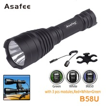 Asafee B58U Best Rechargeable Hunting Flashlight Cree XM-L2 LED Tactical Torch Light RED GREEN WHITE Waterproof LED Flashlight