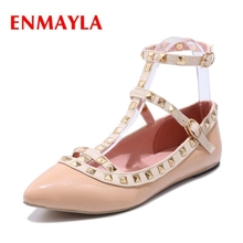 ENMAYLA Pointed Toe  Buckle Strap  Casual  Solid  Ladies Shoes  Ballet Flats  Womens Flats   Size34-43 ZYL2114
