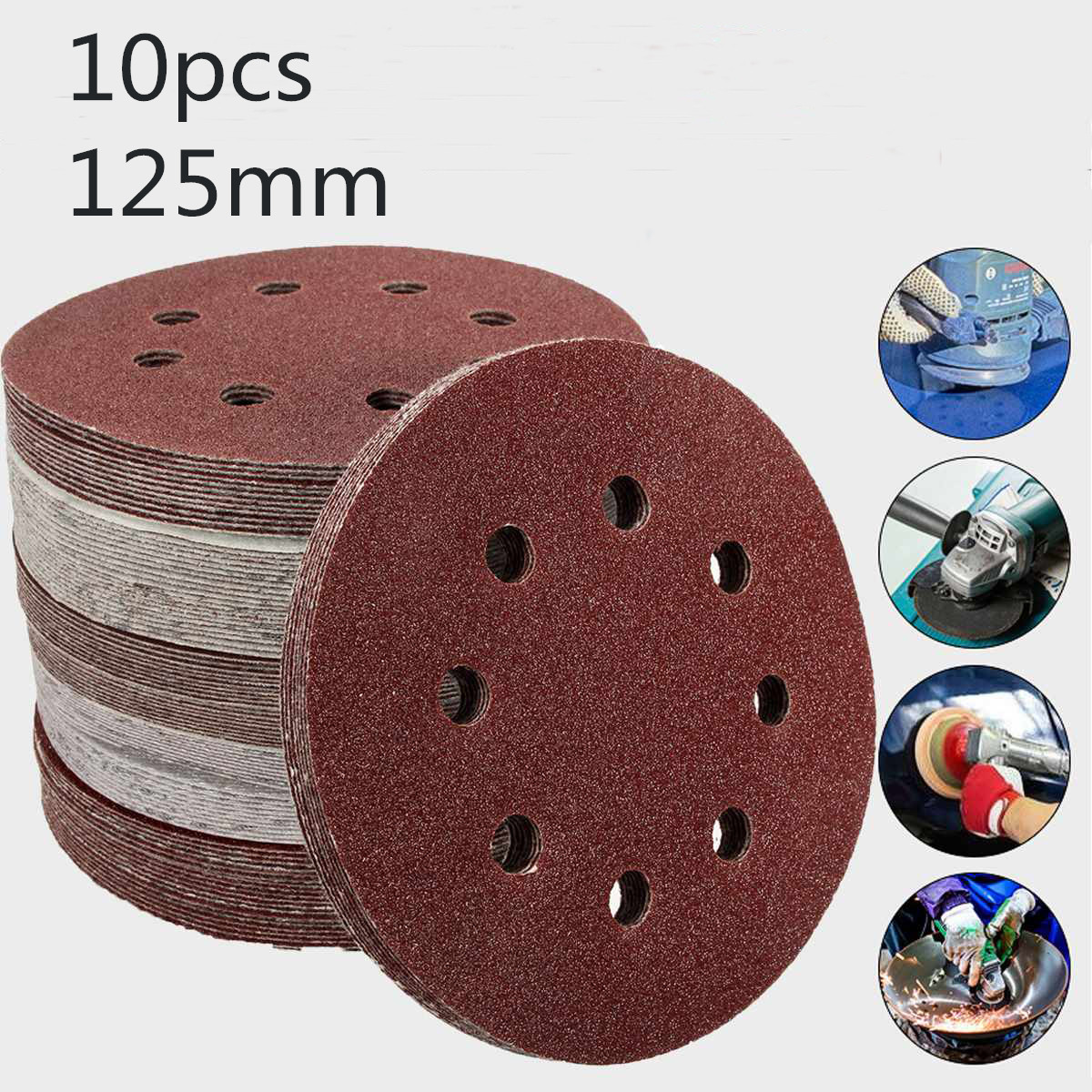 10Pcs 125mm Grit Round Shape Sanding Discs Buffing Sheet Sandpaper 8 Hole Polishing Pad Sander 80/180/240/320/1000/1500/2000