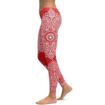 Γυναικείο ελαστικό παντελόνι κολάν με σχέδιο mandala κομψό και άνετο