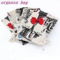 50pcs Little cat Pattern Linen Fabric Drawstring bags Candy Jewelry Gift Bag Cotton Linen Drawstring Bundle Bags 10x14cm