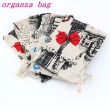 50pcs Little cat Pattern Linen Fabric Drawstring bags Candy Jewelry Gift Bag Cotton Linen Drawstring Bundle Bags 10x14cm