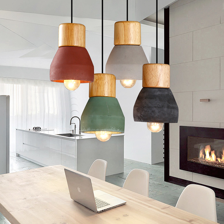 Fancy design Northern European style modern led E27 cord Pendant lamp kitchen coffee shop hanging Wood cement lamp pendant light