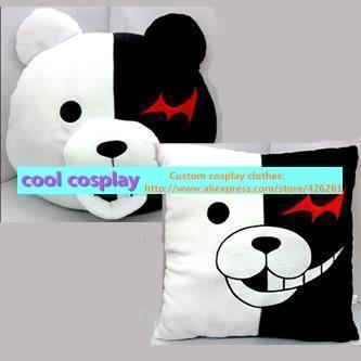 Danganronpa monokuma pellets black and white plush pillow dolls cushion cute toy gift 40*40cm