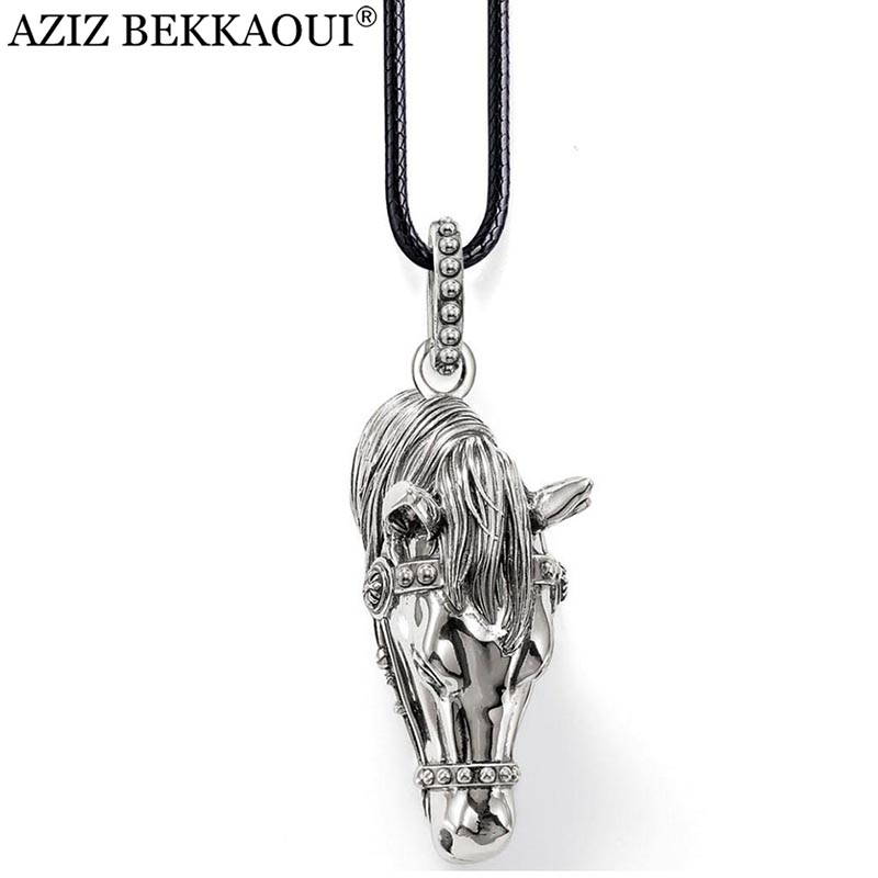 Horse pendants men necklace famous brand vintage men jewelry diy pendants necklace 18inch leather chain necklace christams gift
