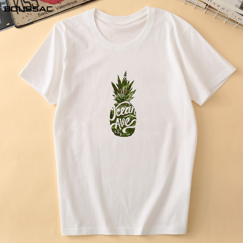 Women Clothes White O neck Female T Shirt Pineapple art Print Summer Fashion Women 39 s Plus Size Cotton Harajuku Tees Short Sleeve in T Shirts from Women 39 s Clothing