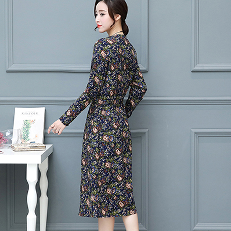 Women s Autumn Winter Vintage Thickening Cotton   Linen Plus Size Print  Waist Dress Lady voguees Trend Stand A Line tunics-in Dresses from Women s  Clothing ... 017f2a37207f
