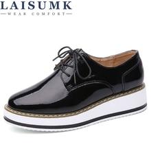 LAISUMK Spring Leather Women Flat platform Shoes Brogue Vintage For Female Derbies Footwear chaussures femme