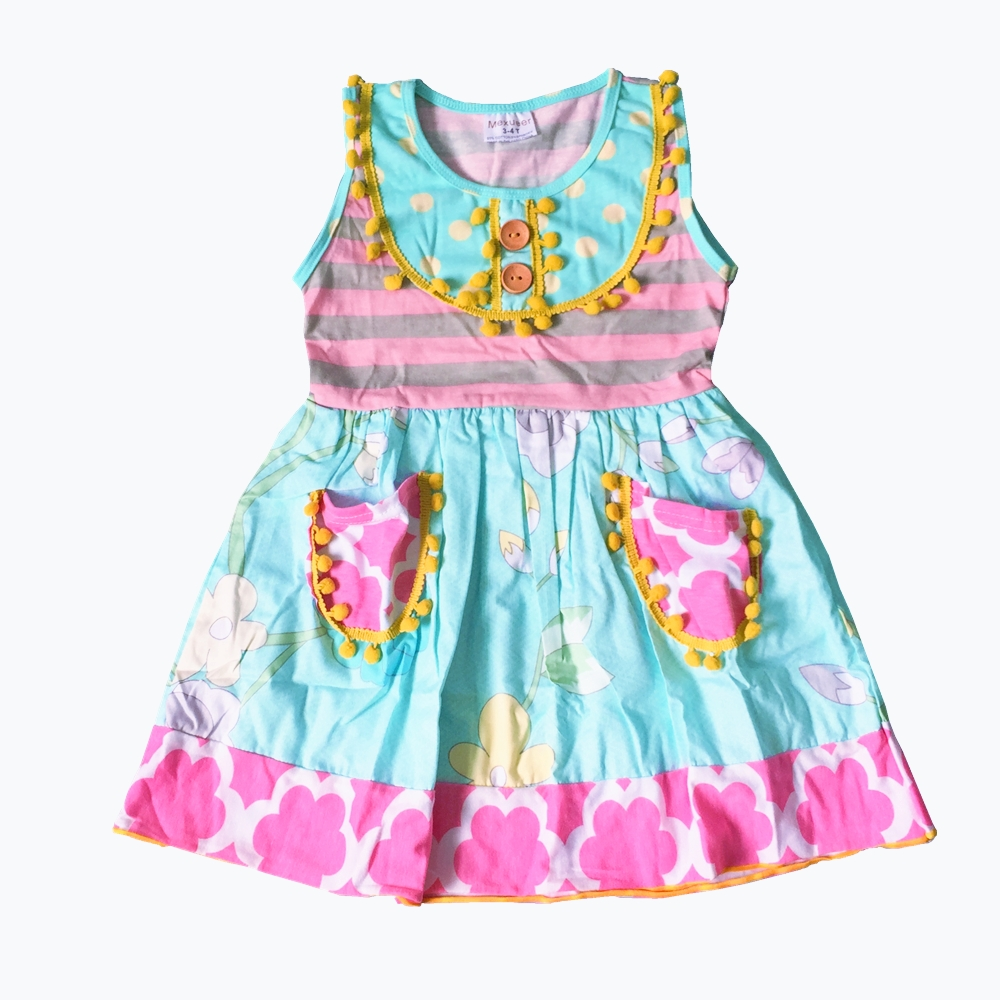 2018 Cotton Summer Girls dress clothes ruffles Dress kids princess girls dress frocks pastoralism loose cotton little big girl dress children 2018 new ruffles sleeveless princess dress kids clothes spring summer blue sundress