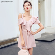Women Summer Playsuit Irregular Ruffle Off Shoulder Striped Jumpsuit Shorts Wide Leg Sexy Rompers Ladies Overalls combishort ete недорого