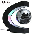 2017 Novelty Creative C Shape Magnetic Levitation Lamp with Globe World Map Colorful LED Abajur Decoration LED Desk Lamp Light