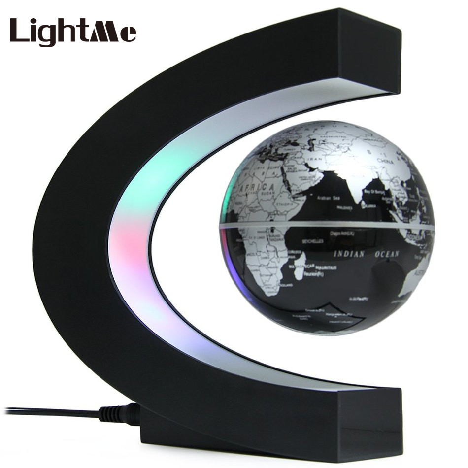 2018 Novelty LED Desk Lamp Creative C Shape Magnetic Levitation Lamp with Globe World Map Colorful LED Abajur For Decor Original creative english letter world map pattern square shape pillowcase