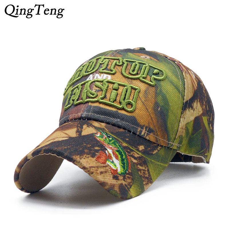 Mens Fishing Camo   Cap   Outdoor Hunting   Baseball     Cap   Visor 3D Letter Embroidery Dad Hat Deer Bull Skull Eagle   Caps   Hats
