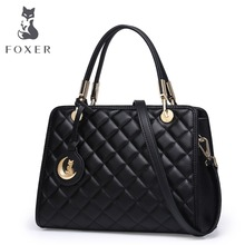 FOXER Brands Luxury Handbags Women Soft Leather Shoulder Bag For Female Casual Fashion Lingge Tote Bag