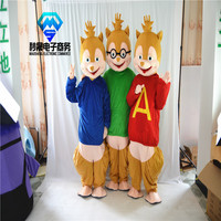 2017 hot! New Alvin and Chipmunks mascot Mascot Costume Costume Adult Size factory direct sales