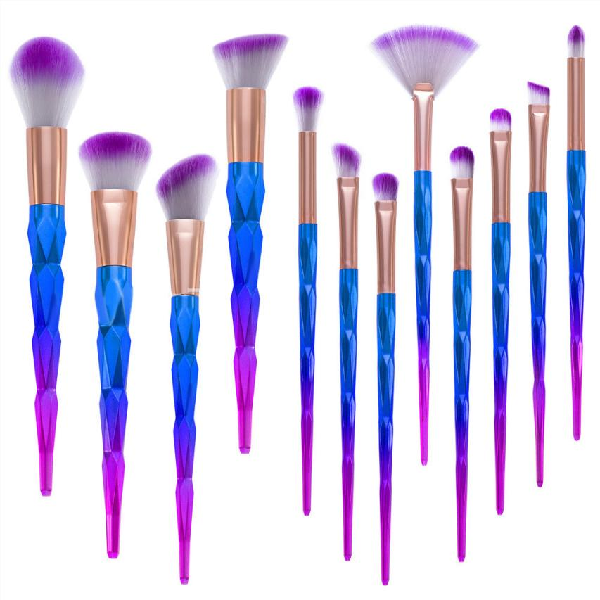 natural color 12Pcs Pro Makeup Cosmetic Brushes Set Powder Foundation Eyeshadow Lip Brush makeup brush kit Anne bob cosmetic makeup powder w puff mirror ivory white 02