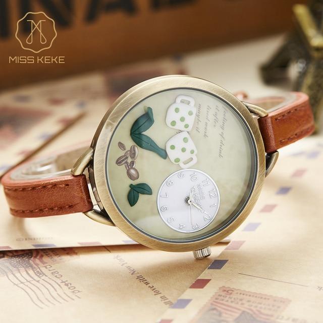 Miss Keke Quartz Watches Children 3D Clay Cartoon Watch Clock Girls Kids Bracelet Casual Leather Wrist Watches 62 montre enfant