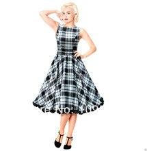 free shipping Swing Tartan Dress Vintage 50s Rockabilly Party Wedding Pin Up