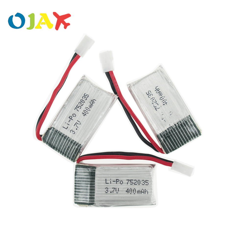 3pcs 3.7V 400mAh 25C Drone Rechargeable Lipo <font><b>Battery</b></font> 752035 For RC Eachine H99W <font><b>JJRC</b></font> <font><b>H31</b></font> H6C H98 Quadcopter