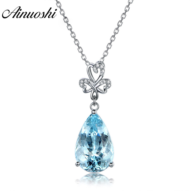 AINUOSHI Pear Cut 3ct Genuine Light Blue Topaz Pendant Necklace 925 Sterling Silver Heart Pendant Party Chain Jewelry Gemstone