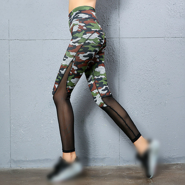0647a510991af Lenagaga Women Mesh Leggings Yoga Pant Gym Fitness Pant Camouflage Legging  Sport Tights Gym High Waist Push Up Leggins Plus Size