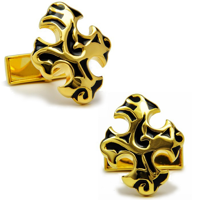 SPARTA High quality metal + Electroplating Cross-shaped Golden color cufflinks men's Cuff Links + Free Shipping !!!