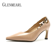 Women Pumps High Heels Shoes Pointed Toe Leopard Concise Office Lady Dress Shoes Hoof Heel Spring Autumn Woman Party Shoes Brand