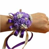 2pcs/lot ,  Wedding supplies Bride Bridesmaids Wrist Flower (Purple) artificial flower heads fleur en mousse FX517-2