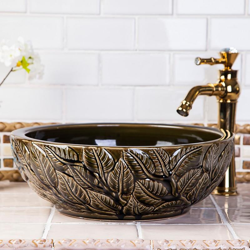 China Keramik kunst becken Waschbecken Arbeitsplatte Waschbecken ...