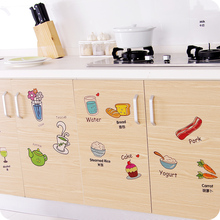 Cartoon Kitchen Refrigerator Door Stickers Decorative Stickers Food Fruit Removable Wall Sticker