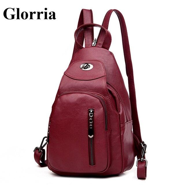 Glorria Designer Anti Theft Backpacks Women Leather Bagpack for Teenager  Girls School Bag Women Mini Backpack and Purses Mochila fb8532b0a2bef