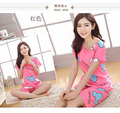 O Neck Cartoon Fashion Summer Thin ShortSleeve Pink Blue Yellow Pajamas Sets Character Animal Pajamas Cartoon Sleepwear sleep