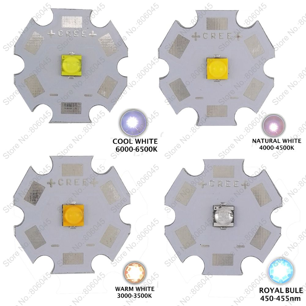 20pcs Cree XTE XT-E 5W High Power LED Emitter Warm White, Cold White, Neutral White & Royal Blue on 8mm 12mm 14mm 16mm 20mm PCB 2pcs lot us cree cxa 3070 beads 117w high power led chip 2700 3000k 5000 6500k pure white warm white