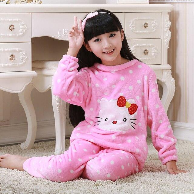 Flannel Girls Set Round Necked Fall Winter Pajamas Cozy Cashmere Girls Sleep Wearing Simple