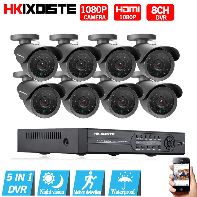 High Quality 1080P HD Outdoor Security Camera System 1080P HDMI CCTV Video Surveillance 8CH 1080N AHD DVR Kit HDD AHD Camera Set