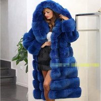 Hooded fur coat faux fur mink coat 2018 new fashion winter hooded long section of thick warm fur coat women's leisure PL019
