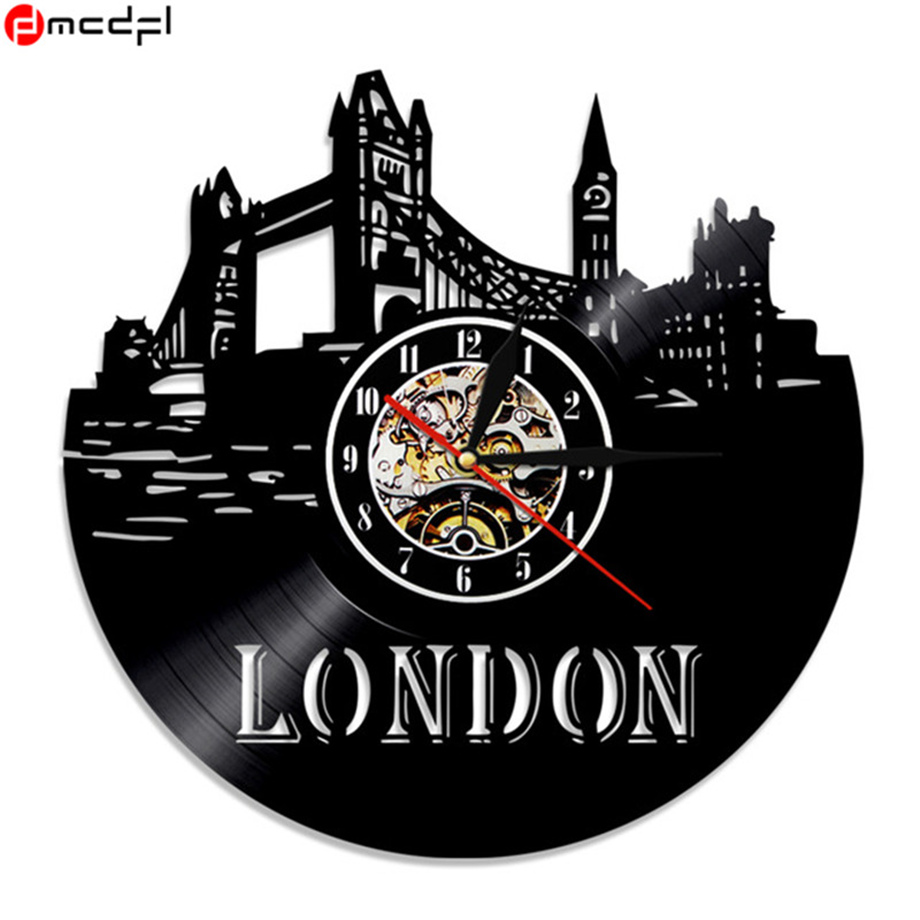 Creative Cool Vinyl Record Wall Clock 12 London Sticker Decorative Time Clocks Clocks Wall Clocks