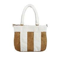 New Handbag Women Fashion Tote Bag Coffee Color Plush Wool Stripes Designer Handbags High Quality Shopping