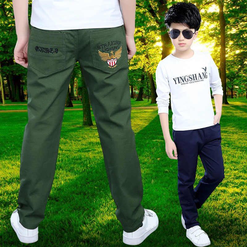 2019 primavera moda letras niños Pantalones Casual Algodón elástico cintura lápiz pantalones para a 4-16 T los niños ropa de los niños