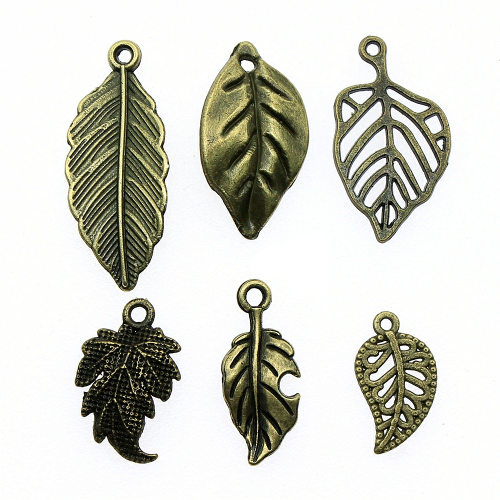 20pcs/lot Small Leaf Pendant Charms Antique Bronze Color Leaf Charms Jewelry Diy Vintage Leaf Charms For Bracelet Making