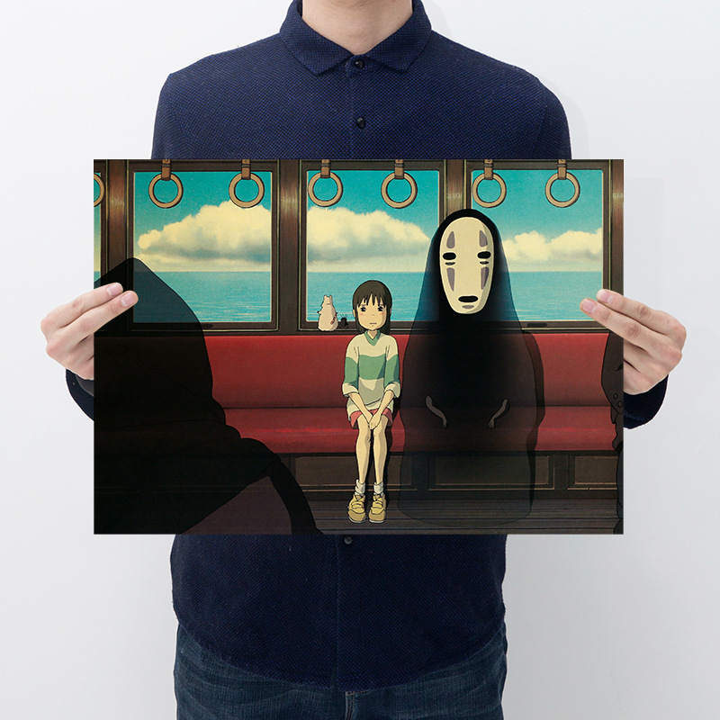 Japanese Anime Miyazaki Spirited Away No Face Man Posters and Prints Vintage 2019 New Spirited Away Faceless Man Toy Party Decor image