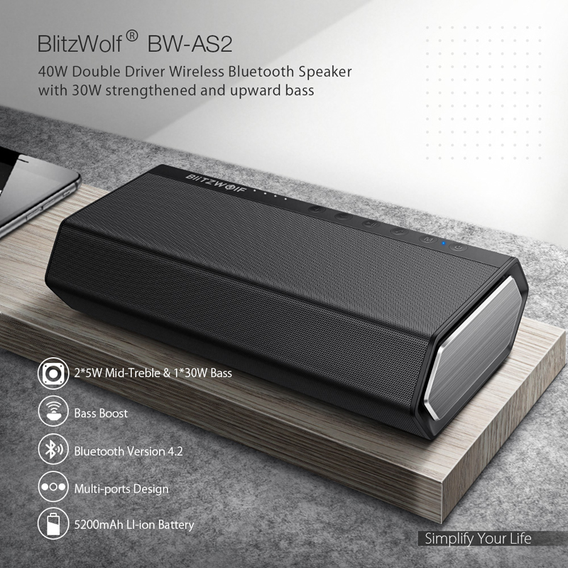 BlitzWolf 40W 5200mAh Double Driver Portable Wireless bluetooth Speaker 30W Strengthened Upward Bass Hands-free Aux-in Speaker