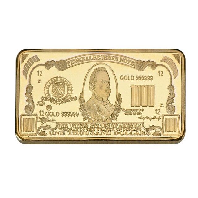 WR One Thousand 24k Gold Bar Unique Gifts 9999 World Paper Money Fake Bars Souvenir