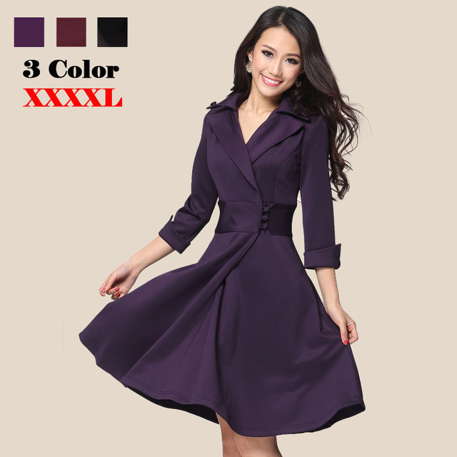 1d9f9663ddcd6 US $24.89  New 2015 Spring Women dress OL slim waist Slim Elegant Half  Sleeve Dress Plus Size One piece Dress S XXXXL Winter dress-in Dresses from  ...