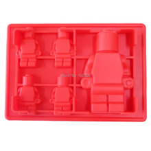 5x Silicone Robot Ice Mold Cream Tools Color Red Tubs Cake Free Shipping